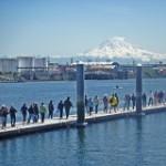 Walking on Dock w Mountain & Kayak